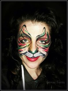 Multi coloured tiger face paint