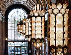 Beautiful Art Deco Light fixtures in the Fisher Building Transitional Chandeliers, Transitional Lighting, Transitional House, Transitional Bathroom, Detroit History, Detroit Art, Detroit Michigan, Bauhaus, Monuments