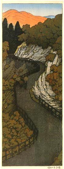 Okane Road in Shiobara  by Kawase Hasui, 1918  (published by Watanabe Shozaburo)