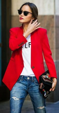 Street style | Red blazer, white top, jeans For similar items, please visit http://www.fashioncraycray.xyz/