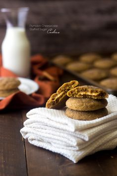 Sugar Spice Cookies with Pumpkin Cheesecake Filling - These are AMAZING! You would never know they're whole wheat!   Foodfaithfitness.com   #pumpkin #cookie #recipe