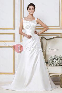 A-ラインストラップ袖なし床まで長さチャペルウェディングドレス