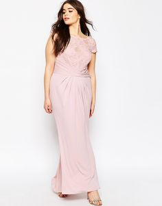 Image 4 of ASOS CURVE WEDDING Pleated Maxi Dress With Lace Top