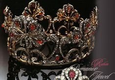 The ruby tiara Grand Duchess Maria Alexandrovna brought with her could be disassembled and worn as brooches. She passed it onto her daughter, Alexandra, whom she arranged a marriage to Ernst II, Prince of Hohenlohe-Langenburg, in 1896. Image courtesy of Ursula's Royal Magazin site