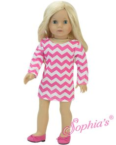Pink Chevron Dress Doll Clothes Made for 18 inch American Girl #18Inchdollclothes