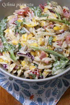 Pasta Salad, Cobb Salad, Buzzfeed Food Videos, Salad Recipes, Healthy Recipes, Healthy Food, Orzo, Polish Recipes, Potato Salad