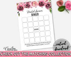 Empty Bingo Bridal Shower Empty Bingo Floral Bridal Shower Empty Bingo Bridal Shower Floral Empty Bingo Pink Purple party décor - BQ24C #bridalshower #bride-to-be #bridetobe