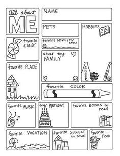 All About ME FREEBIE by Science & Math Doodles This is a great first week of school sheet to let students fill out. They can color the pictures and decorate. Another use is feature five students a day to share, or save them in a file and have the students Get To Know You Activities, All About Me Activities, First Day Of School Activities, Math About Me, All About Me Preschool Theme, Writing Activities, All About Me Printable, All About Me Worksheet, Beginning Of The School Year