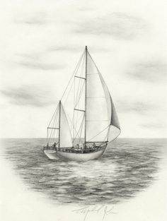 Sailboat original pencil drawing
