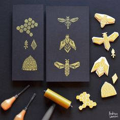 Carved and printed a set of bee designs this afternoon! Love how this gold ink printed on the black and dreaming up some fabric patterns and art prints now! by inkprintrepeat