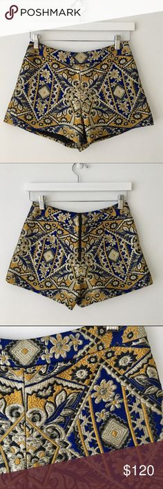 Alice and Olivia embroidered shorts Alice and Olivia embroidered shorts . Zipper in the back. Excellent, new like condition, style with Alice and Olivia turtleneck navy sweater. Alice + Olivia Shorts