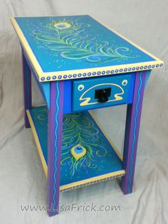 SOLD Hand Painted Peacock Feather Side Table FREE by LisaFrick