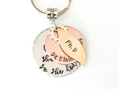 Graduation PhD Gift Keychain Inspiration Message Name Degree Personalised Doctor Doctorate MD PhD RN PA Nurse Practitioner lpn Best Friend Graduation Jewelry, Graduation Gifts, Phd Graduation, Expecting Mom Gifts, Bar Necklace, Charm Necklaces, Name Gifts, Friendship Gifts, Hand Stamped Jewelry