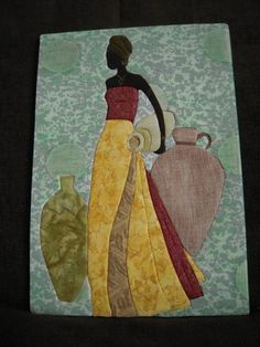 La belle africaine African Quilts, African Fabric, African Art, Styrofoam Crafts, Fabric Storage Baskets, Quilting Projects, Textile Art, Sculpture Art, Quilt Patterns