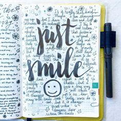 Just smile journal artjournal hobonichi planner diary notebook filofax mtn Bullet Journal Quotes, Bullet Journal Writing, Daily Journal, Bullet Journal Ideas Pages, Bullet Journal Inspiration, Journal Pages, Bullet Journals, Journal Writing Prompts, Bullet Journal Aesthetic