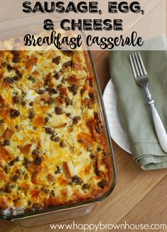 Sausage, Egg, and Cheese Breakfast Casserole - - Your family is sure to love this breakfast casserole made with sausage. It's a winner for sure. This sausage casserole is a savory breakfast perfect for a crowd. Egg And Cheese Casserole, Christmas Breakfast Casserole, Breakfast Casserole With Biscuits, Overnight Breakfast Casserole, Casserole Recipes, Sausage Casserole, Savory Breakfast, Recipes With Breakfast Sausage Dinner, Egg Bake With Bread