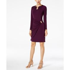 Thalia Sodi Embellished Faux-Wrap Dress, Created for Macy's ($90) ❤ liked on Polyvore featuring dresses, majestic plum, embellished wrap dress, polish dress, faux wrap dress, white dress and embelished dress