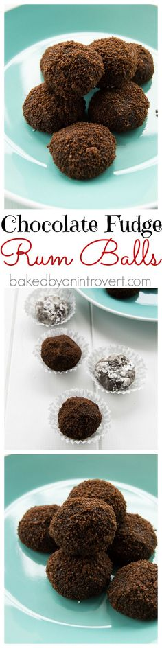 Chocolate Fudge Rum Balls - Soft, chewy, and boozy. These chocolate fudge rum balls will be the best part of your holiday!