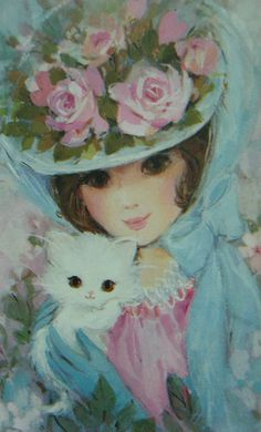 vintage lady with cat illustration