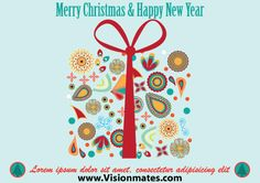 Merry Christmas and Happy new Year vector on light blue background with many designed ornaments. Get this vector as a Premium in Adobe Illustrator format.