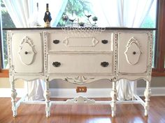 Buffet - 35 Beaut-ious Buffets - shows before and after pics of different styles of buffets. This is a great post because it shows different ways they were painted, offering a lot of inspiration. Refurbished Furniture, Paint Furniture, Repurposed Furniture, Shabby Chic Furniture, Furniture Projects, Furniture Making, Furniture Makeover, Vintage Furniture, White Furniture