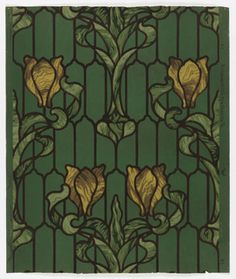 """Imitation stained glass design, with yellow tulip with green foliage and dark brown """"leading"""" in art nouveau style. Stained Glass Designs, Stained Glass Patterns, Pretty Patterns, Color Patterns, American Wallpaper, Interior Wallpaper, Yellow Tulips, Design Museum, Surface Design"""
