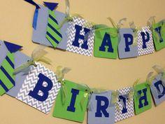 Boy Birthday Banner - Tie Birthday Party Decoration - First Birthday - Little Man - Blue Green Chevron on Etsy, $20.00