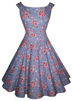 Full circle 'Abigail' drop waist in garden party vintage blue