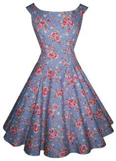 Polka Dot Polly 'Abigail' drop waist in garden party vintage blue