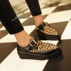 Leopard Wedge Heels Buckle Creeper Platform Pointed Shoes