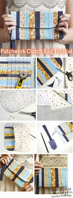 How to Make Patchwork Clutch Bag. Tutorial http://www.handmadiya.com/2015/05/patchwork-clutch.html