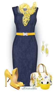 Fashion Style Combination - Navy Blue with Yellow Accents, accessories, handbag, and pumps, scarf, belts, and more. Foto