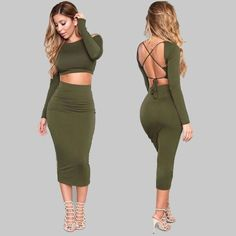 2 Piece Set Cotton dress Women Bodycon Dress Plus Size Sexy Backless Party Dresses Two Piece Outfits