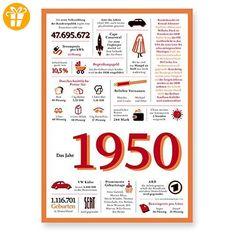 Tolle Geschenkidee: Jahreschronik 1950 - Shirts zum geburtstag (*Partner-Link)