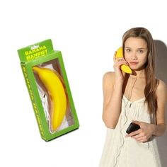 Transform for your your iphone or cellphone into a headset in style with the banana phone headset from Big Mouth Toys. The standard 3.5mm jack plugs into most phones (including the iPhone 3, iPhone 4 and all Blackberry models) and makes for a fabulous gift. On the other end of the jack is a banana-shaped receiver – a side-splitting talking device that references the classic joke of talking into a banana. Are you man enough to use a banana-phone in a cafe?