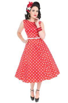 Red Polka Dot Hepburn Dress