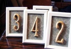 table numbers ; Picture frames, printed paper, and house address numbers