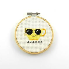 This funny celebri tea cross stitch pdf pattern is part of my popular tea pun line. Funny Embroidery, Embroidery Hoop Art, Cross Stitch Embroidery, Modern Cross Stitch Patterns, Counted Cross Stitch Patterns, Cross Stitch Designs, Cute Cross Stitch, Back Stitch, Cross Stitching