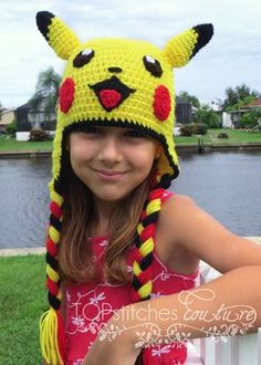 Pikachu Crochet Hat Pokemon Go Pokemon Hat by TOPstitchesCrochet