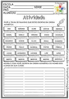 Atividades Escolares Ordem Alfabetica Atividades Alfabetizacao