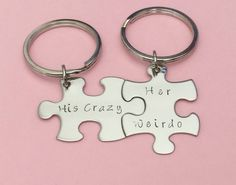His crazy her weirdo puzzle keychains, Anniversary gift for your boyfriend/girlfriend.  Great gift idea for him or her from etsy.