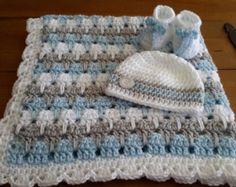 manta de niño del bebé raya de la abuela por DonnasPinsandNeedles