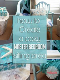 How to create a cozy master bedroom sitting area. Great ideas and pretty pictures. #decor #masterbedroom www.entirelyeventfulday.com