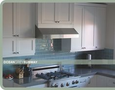 Ocean-gray recycled glass subway tile