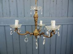 Bronze 3 lamp crystal chandelier ceiling light by Frenchidyll