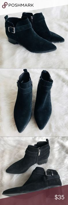 Marc Fisher Black Suede Ankle Boots size 7 Great used condition Black Suede booties with strap and buckle. Pointy toe. Side zipper. On trend Marc Fisher Shoes Ankle Boots & Booties