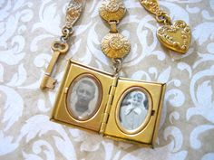 Vintage Locket Brooch with Dangling Heart and Key by charmingellie, $32.00