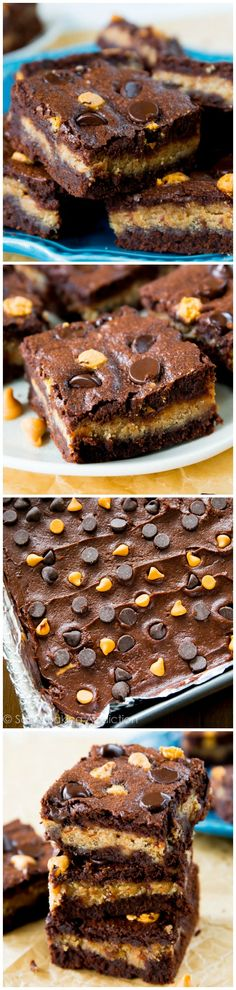 Fudgy homemade brownies stuffed with creamy peanut butter filling - if you like peanut butter cups, you'll love these!