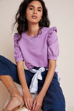 Ruffled Eyelet Pullover by Eri + Ali in Purple Size: Xs, Women's Sweaters at Anthropologie Trendy Tops, Cute Tops, Traje Casual, Cute Casual Outfits, Casual Looks, Ideias Fashion, Nice Dresses, Style Me, Mini Skirts