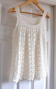 Lacy Crochet Top Tunic Summer Sleeveless Ladies by IzabelaMotyl